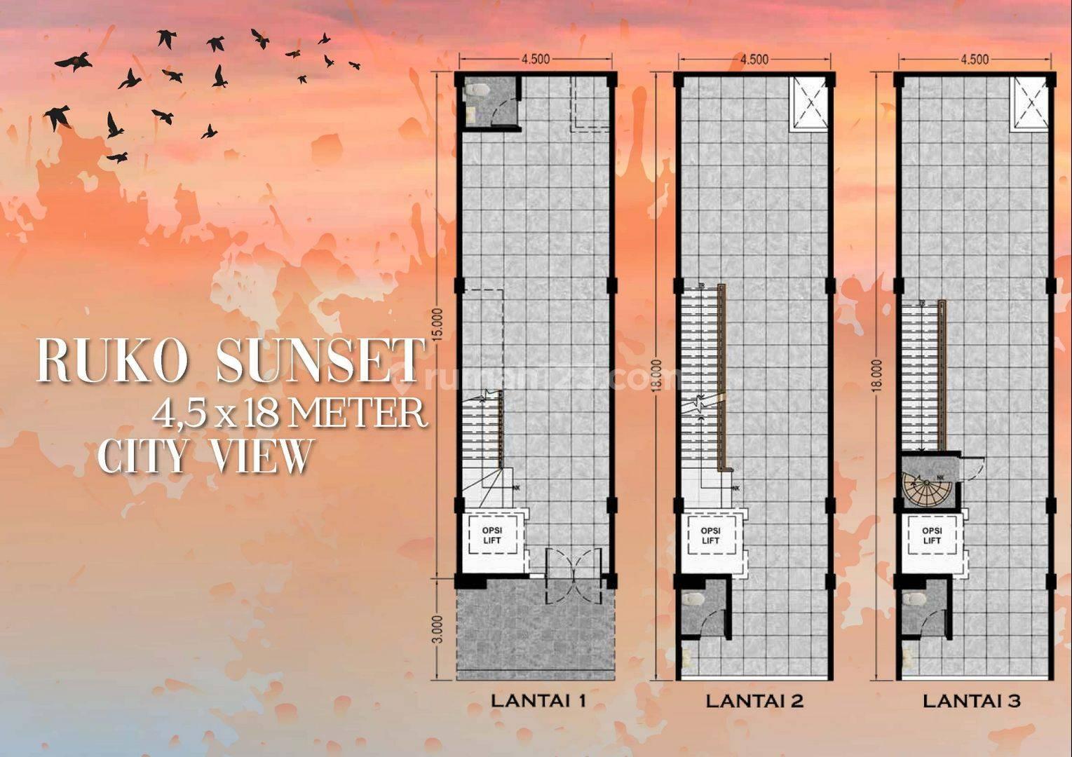Ruko Sunset Ebony 2 PIK, Ukuran 4.5x18 , City View