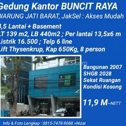 Gedung kantor di Jl. Buncit Raya (Warung Jati Barat), Jakarta Selatan. Terdiri dari 4,5 lantai + Basement (5,5 lantai)