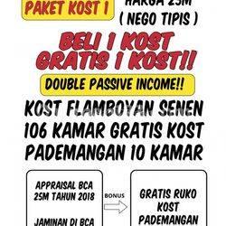 """Beli Rumah Kost""""an 106 Kamar di Senen Jakarta Pusat Promo Gratis kost kostan Pademangan"""