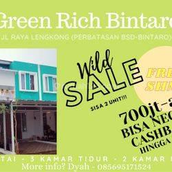 Green Rich Bintaro, rumah SHM 2lt, cantik, nyaman, anti banjir!