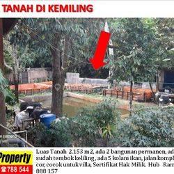 tanah rumah dan kolam ikan di kemiling cocok untuk villa