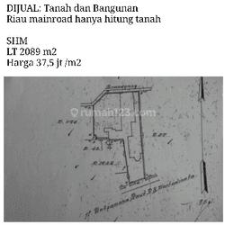 TANAH DI RIAU MAINROAD COCOK UNTUK USAHA/INVEST MASA DEPAN