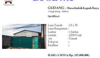 Gudang 1 Lantai di Nusa Indah Kapuk Raya
