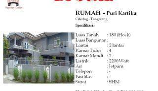 Rumah Hoek turun harga di Puri Kartika Tangerang Ciledug