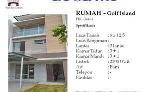 Rumah 3 Lantai di Golf Island PIK Jakarta Utara