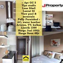 Apartemen Tipe Studio Fully Furnished Lantai 25 View Pool & Mountain Harga 500juta nego di Apartemen Galery Ciumbuleuit 2 Bandung
